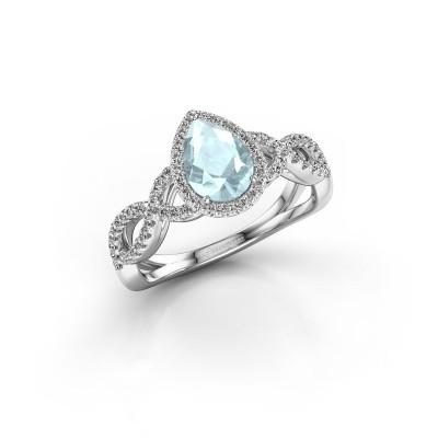 Engagement ring Dionne pear 950 platinum aquamarine 7x5 mm
