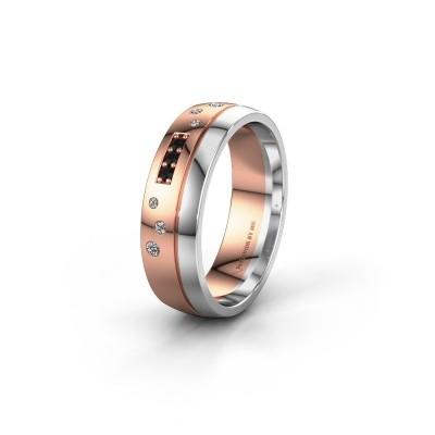 Trouwring WH0310L26AP 585 rosé goud zwarte diamant ±6x1.7 mm
