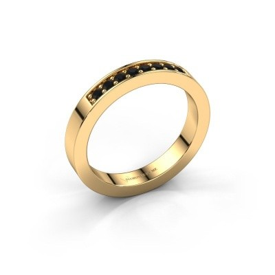 Stackable ring Loes 5 585 gold black diamond 0.192 crt