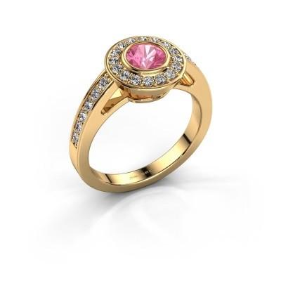 Verlovingsring Raven 1 375 goud roze saffier 5 mm