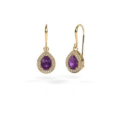 Picture of Drop earrings Beverlee 1 375 gold amethyst 7x5 mm