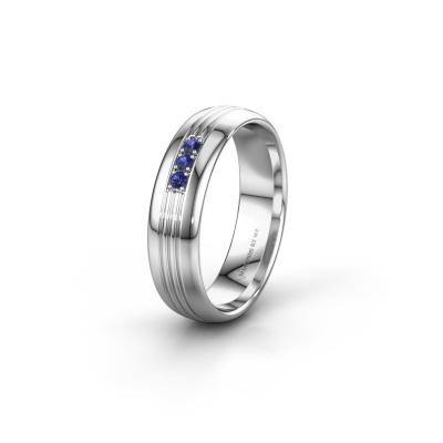 Trouwring WH0405L35X 925 zilver saffier ±5x1.5 mm