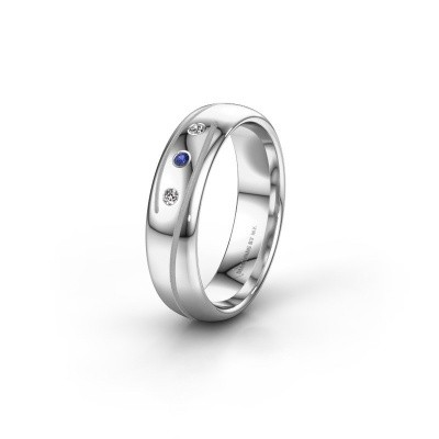 Wedding ring WH0152L25A 585 white gold sapphire ±0.20x0.07 in