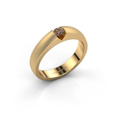 Verlovingsring Theresia 375 goud bruine diamant 0.15 crt