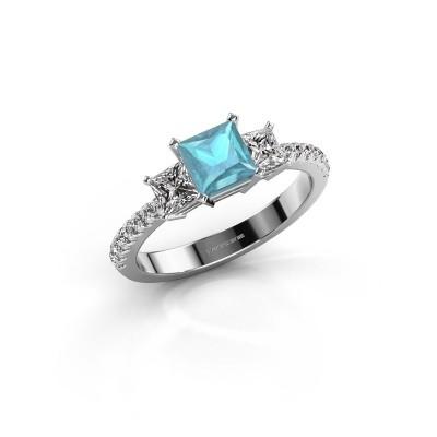 Foto van Verlovingsring Dorla 585 witgoud blauw topaas 5 mm