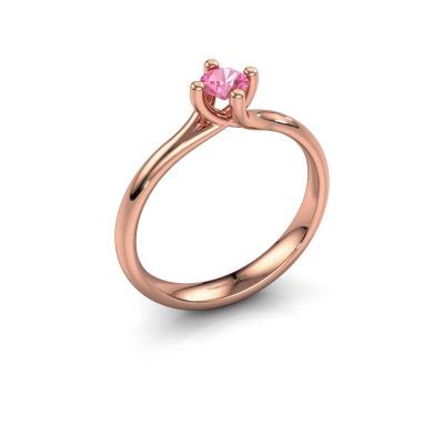 Verlobungsring Dewi Round 585 Roségold Pink Saphir 4 mm