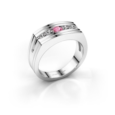 Foto van Heren ring Huub 585 witgoud roze saffier 3.7 mm