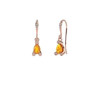 Drop earrings Bunny 2 375 rose gold citrin 7x5 mm