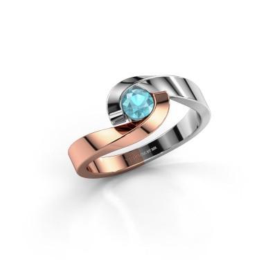 Foto van Ring Sheryl 585 rosé goud blauw topaas 4 mm