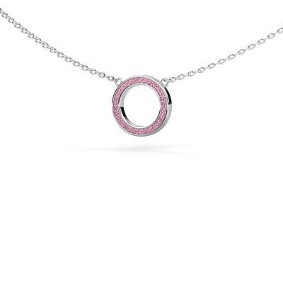 Foto van Hanger Round 1 925 zilver roze saffier 0.8 mm