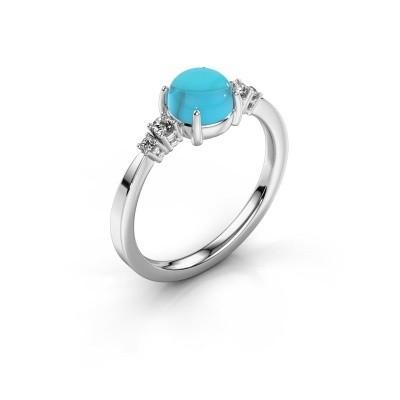 Ring Regine 925 zilver blauw topaas 6 mm