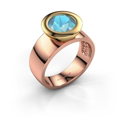 Ring Maxime 585 rose gold blue topaz 8 mm