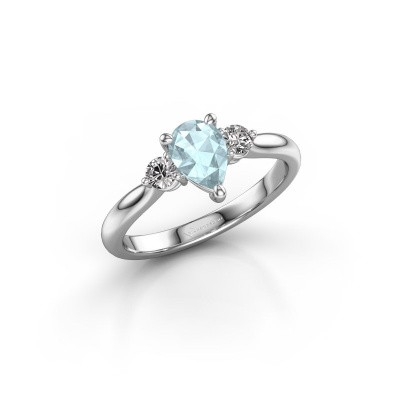 Picture of Engagement ring Lieselot PER 950 platinum aquamarine 7x5 mm