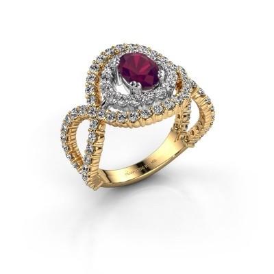 Ring Chau 585 goud rhodoliet 7x5 mm