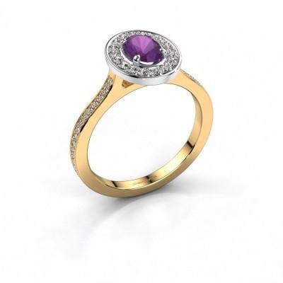 Ring Madelon 2 585 goud amethist 7x5 mm