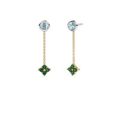Picture of Drop earrings Ardith 585 gold emerald 2 mm