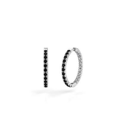 Foto van Creolen Miki 20mm 585 witgoud zwarte diamant 1.524 crt