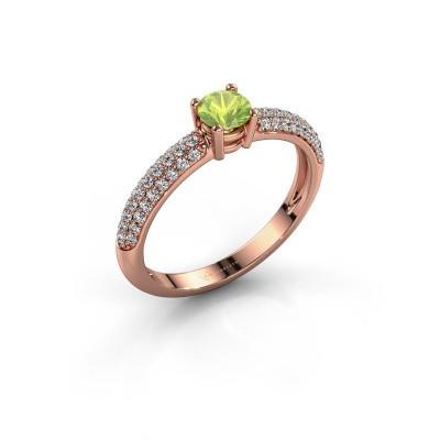 Foto van Ring Marjan 375 rosé goud peridoot 4.2 mm