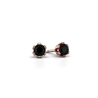 Foto van Oorstekers Julia 375 rosé goud zwarte diamant 0.30 crt