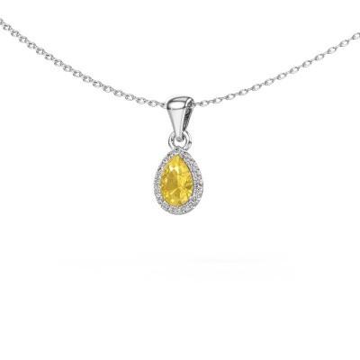 Halskette Seline per 585 Weißgold Gelb Saphir 6x4 mm