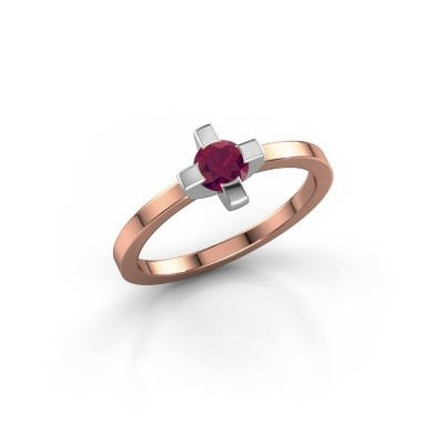 Ring Therese 585 rosé goud rhodoliet 4.2 mm