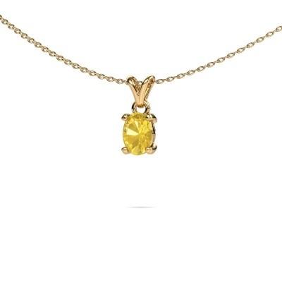 Ketting Lucy 1 375 goud gele saffier 7x5 mm