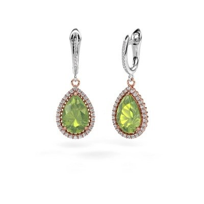 Drop earrings Hana 2 585 rose gold peridot 12x8 mm