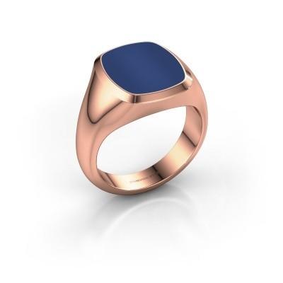 Foto van Zegelring Benjamin 3 375 rosé goud lapis lazuli 14x12 mm