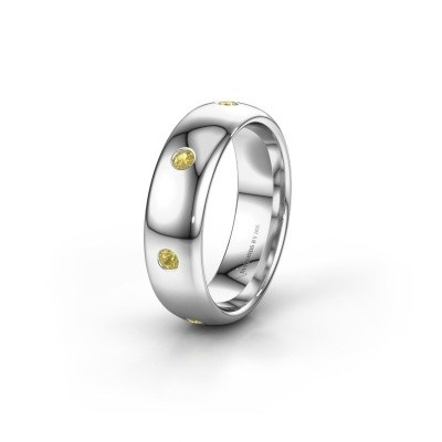 Wedding ring WH0105L36BP 585 white gold yellow sapphire ±0.24x0.08 in
