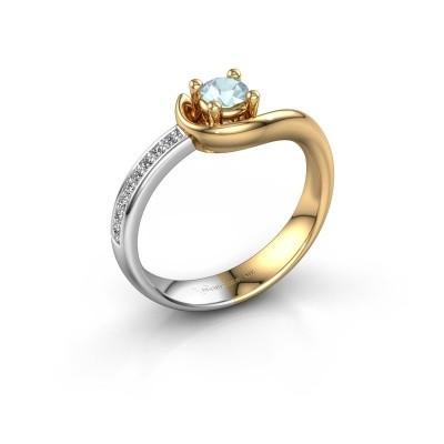 Foto van Ring Ceylin 585 goud aquamarijn 4 mm