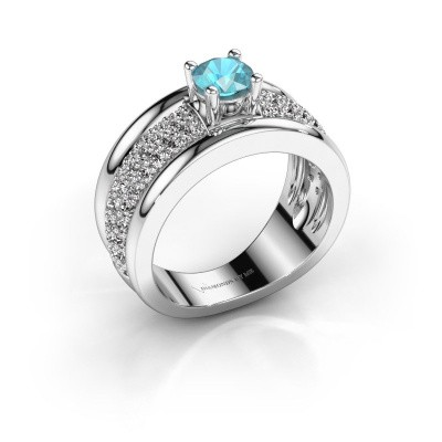 Foto van Ring Alicia 950 platina blauw topaas 5 mm
