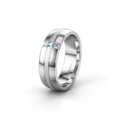 Wedding ring WH0426L26A 950 platinum aquamarine ±6x1.7 mm