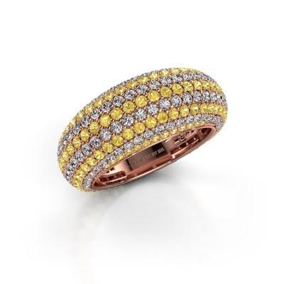 Foto van Ring Lyndia 375 rosé goud gele saffier 0.8 mm