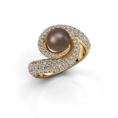 Ring Klasina 375 goud bruine parel 7 mm