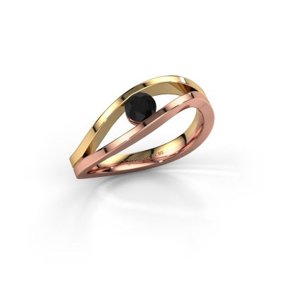 Foto van Ring Sigrid 1 585 rosé goud zwarte diamant 0.30 crt