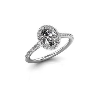 Engagement ring Seline 2 585 white gold zirconia 7x5 mm