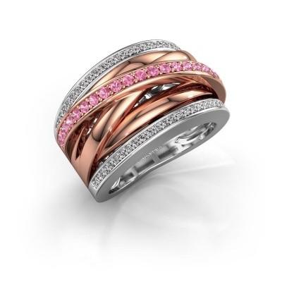 Foto van Ring Clair 2 585 witgoud roze saffier 1.5 mm