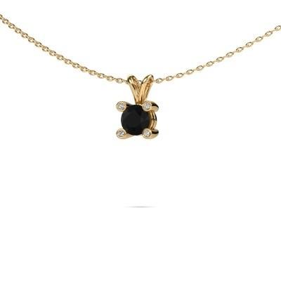 Foto van Hanger Fleur 585 goud zwarte diamant 0.60 crt