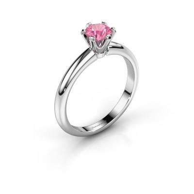 Verlovingsring Tiffy 1 585 witgoud roze saffier 5 mm