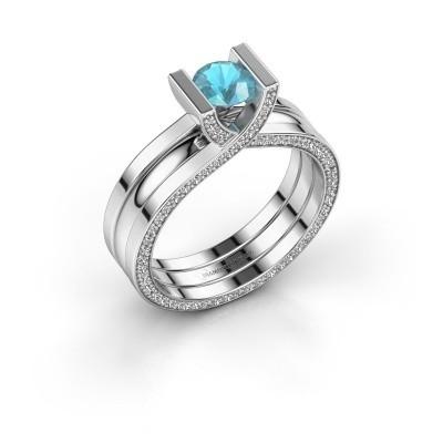 Verlovingsring Kenisha 950 platina blauw topaas 5 mm