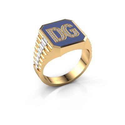 Zegelring Stephan 2 585 goud lab-grown diamant 0.124 crt