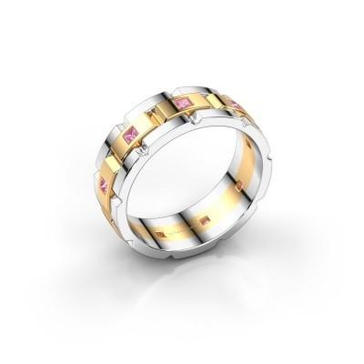 Foto van Heren ring Ricardo 585 goud roze saffier 2 mm