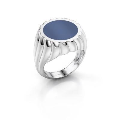 Foto van Zegelring Mano 375 witgoud blauw lagensteen 13 mm