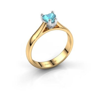 Verlobungsring Sam Heart 585 Gold Blau Topas 5 mm