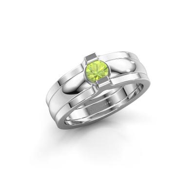Ring Jade 925 silver peridot 4 mm