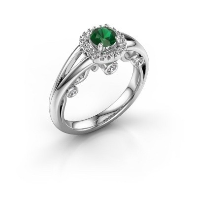 Foto van Verlovingsring Carina 585 witgoud smaragd 4.7 mm