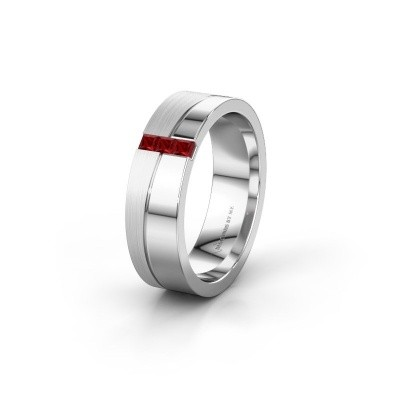 Wedding ring WH0906L16A 950 platinum ruby ±6x1.7 mm