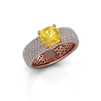 Engagement ring Darcy 375 rose gold yellow sapphire 7 mm