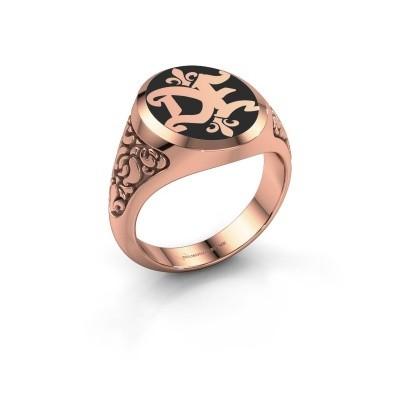 Foto van Monogram ring Brian Emaille 375 rosé goud zwarte emaille