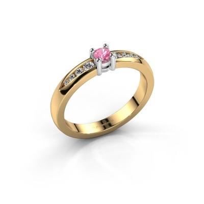 Verlovingsring Zohra 585 goud roze saffier 3 mm